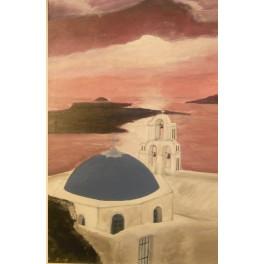 Casa con mare al tramonto
