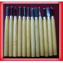 Amati Set 12 Scalpelli in acciaio con manico in legno cm 14